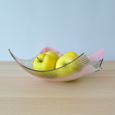 Modern Minimalist Fused Glass Fruit Bowl. Centerpiece Salad Bowl. Designer Fruit-Bowl XL