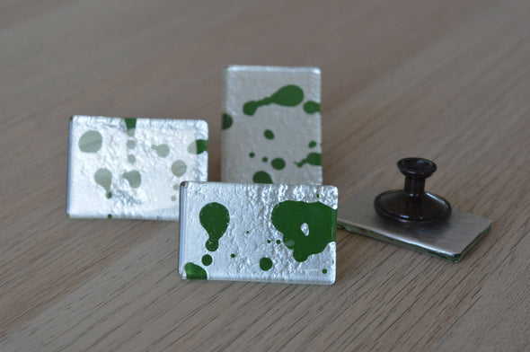 Unique Set of 4 Fused Glass Knob With Green Color Accents. Unique Set of 4 Fused Glass Knobs