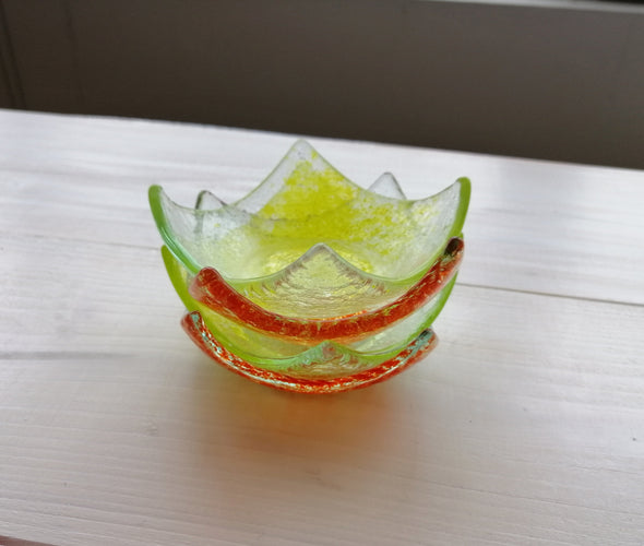 Set of Four Fused Glass Small Bowls in Bright Yellow and Orange. Soy Sauce Bowl Set of Four
