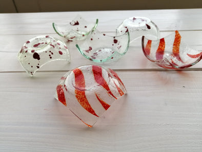 Set of Six Fused Glass Small Bowls With Red Details. Soy Sauce Bowl. Small Dessert Bites Bowls