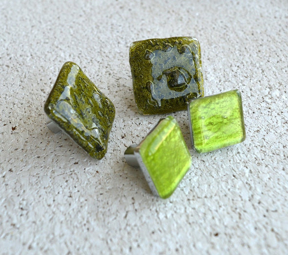 Unique Set of 4 Fused Glass Accent Knobs in Green Tones. Set of 4 Unique Funky Fused Glass Knobs