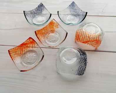 Set of Six Fused Glass Small Bowls in Grey and Orange. Soy Sauce Bowl. Small Dessert Bites Bowls