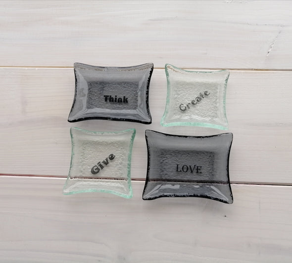 Set of Four Fused Glass Small Bowls in Grey and Transparent. Inspirational Words Soy Sauce Bowls