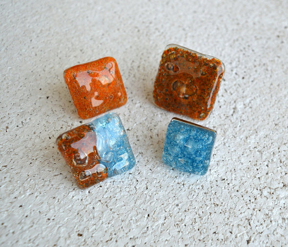 Unique Set of 4 Fused Glass Accent Knobs in Orange and Blue. Set of 4 Unique Funky Fused Glass Knobs