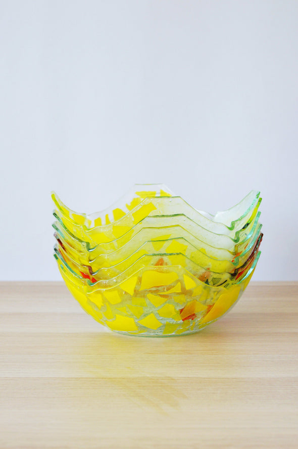 Set of 6 Artistic Fused Glass Bowls. Minimalist Salad Bowls. Fused Glass Tableware