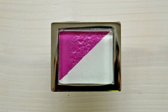 Bright Pink Arlequin Accent Glass Knob. Arlequin Pink Glass Knob