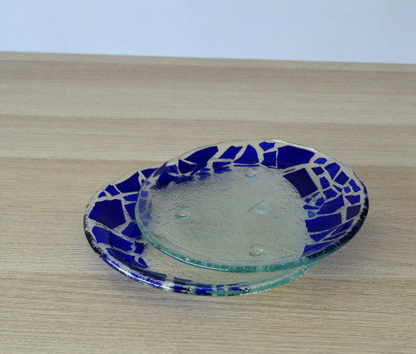 Set of 2 Fused Glass Dessert Plates with Royal Blue Mosaic Accents. Round Glass Plates Set