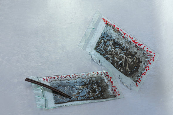 OOK Fused Glass Sushi Platters Set of 2. Fused Glass Cheese Platters with Grey and Red Accents