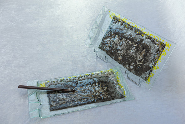 OOK Fused Glass Sushi Platter Set of 2. Fused Glass Cheese Platters with Grey and Yellow Accents