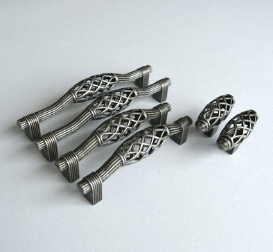 Set of 6 Titanium Finish Cabinet Handles. Old Silver Cabinet Pull. Dark Grey Drawer Handle 514