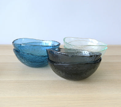 Set of 6 Fused Glass Soup Bowls. Set of 6 Glass Cereal Bowls. Small Salad Bowls