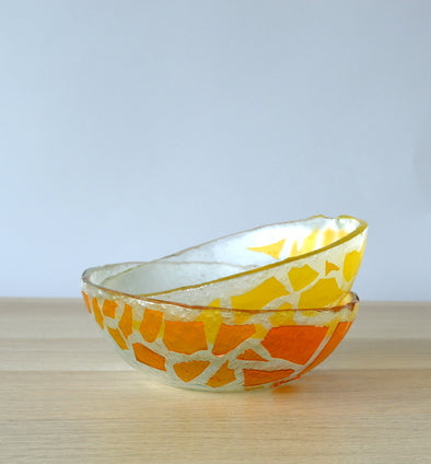 Set of 2 Fused Glass Orange Yellow Soup Bowls. Set of 2 Glass Cereal Bowls. Small Salad Bowls