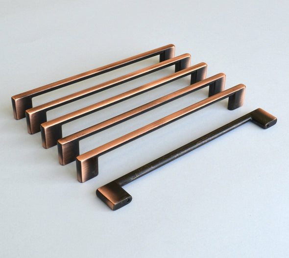Set of 6 Modern Oil Rubbed Bronze Cabinet Pull. Copper Finish Drawer Handle 9134