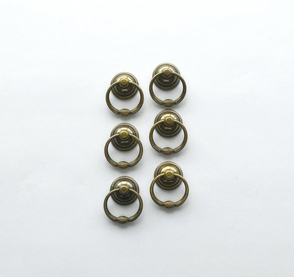 Set of 6 Unique Statement Ring Pull. Antique Brass Drop Knob. Drawer Ring Knob 6154