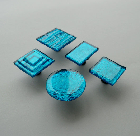 Lagoon Blue Fused Glass Knob. Turquoise Glass Knob. Azure Glass Knob 0034