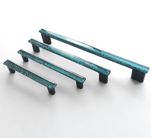 Petrol Green Glass Pull. Artistic Dark Green Furniture Glass Pull. Green Glass Handle 0023