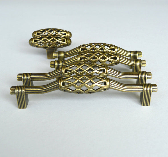 Set of 6 Old Brass Finish Cabinet Handles. Bohemian Hardware. Distressed Drawer Handle 616