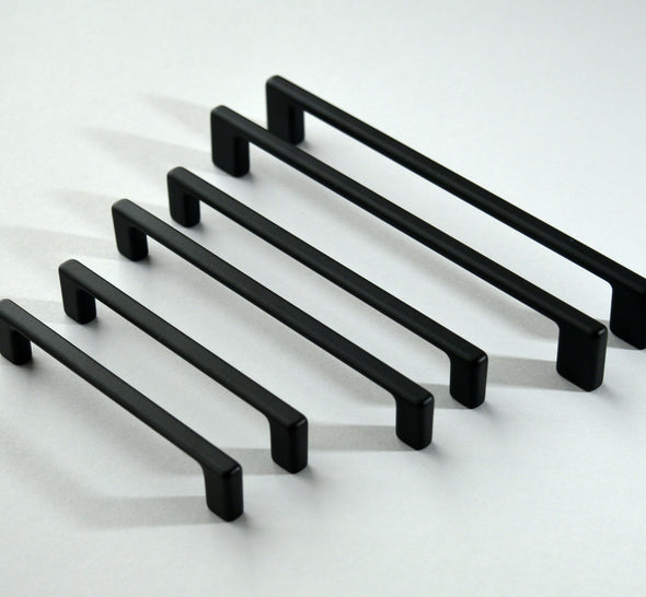 Set of 6 Modern Black Cabinet Pull. Black Cabinet Hardware. Contemporary Handle 713