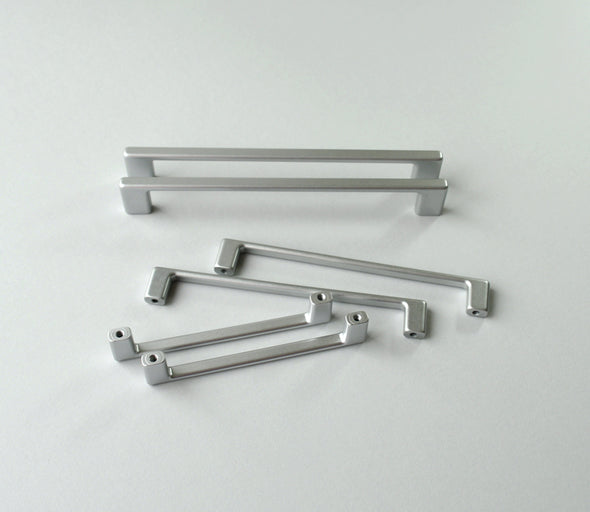 Set of 6 Modern Silver Cabinet Pull. Chrome Matte Cabinet Hardware. Contemporary Drawer Pull 813
