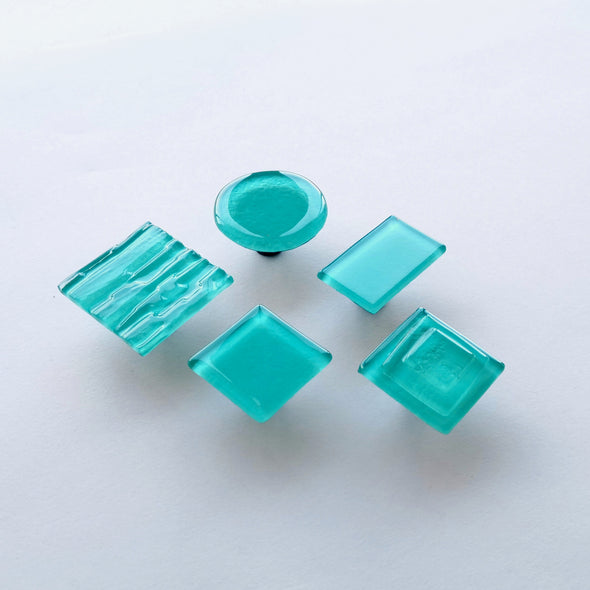 Minimalist Aqua Blue Glass Knob. Artistic Aqua Blue Furniture Glass Pull 0031