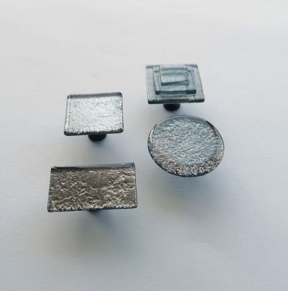 Pewter Fused Glass Knob. Artistic Pewter Furniture Glass Knob. Metallic Glass Pull 0017