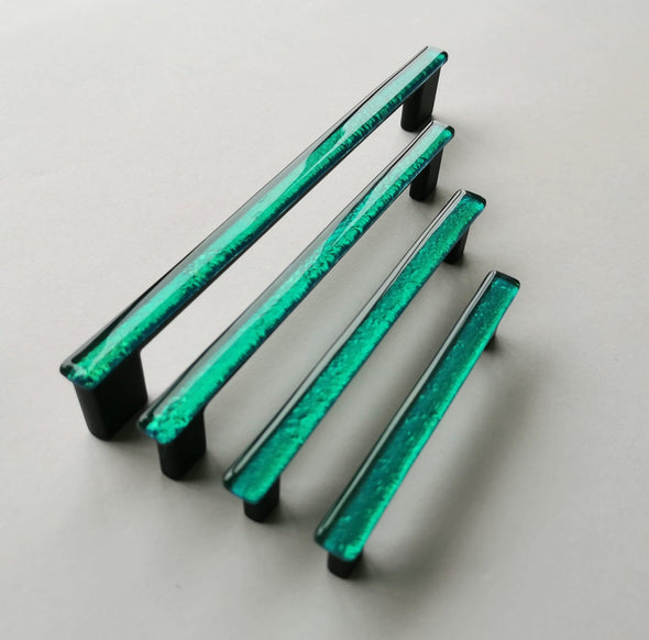 Jade Green Glass Pull. Artistic Jewel Tone Glass Cabinet Pull 0018