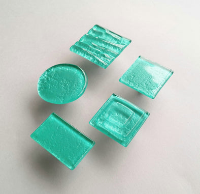 Sea Foam Fused Glass Knob. Artistic Turquoise Furniture Glass Knob 0041