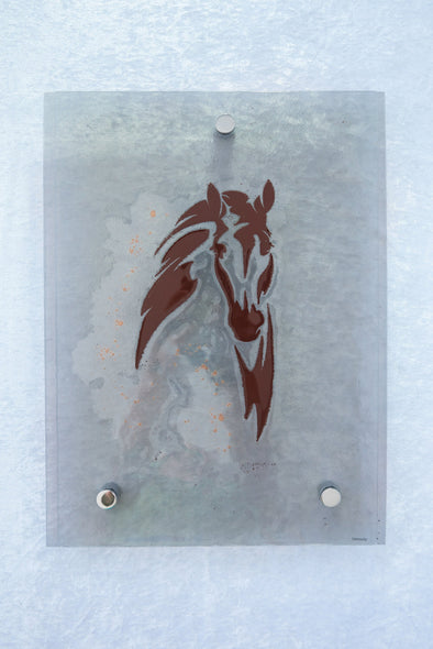 Fused Glass Horse Head Wall Art Panel. Glass Horse in Brown and Bronze