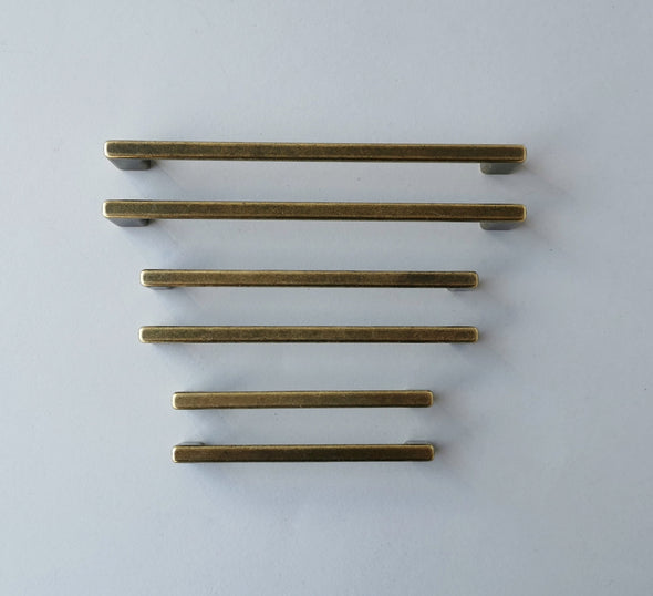 Set of 6 Antique Brass Finish Cabinet Pull. Rustic Cabinet Pull. Drawer Handle 613