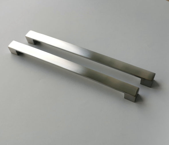 Set of 2 Extra Large Silver Pulls. Modern Contemporary Silver Kitchen Cabinet Pull 8254