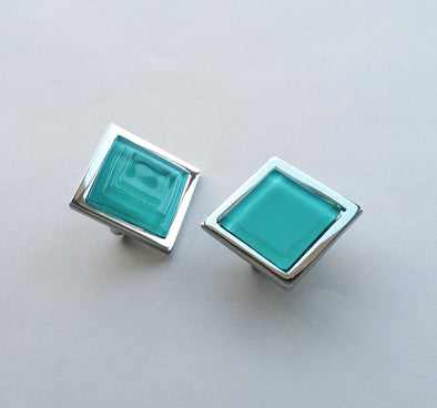 Pop-up Aqua Blue Fused Glass Knob. Artistic Aqua Blue Furniture Glass Knob 0031