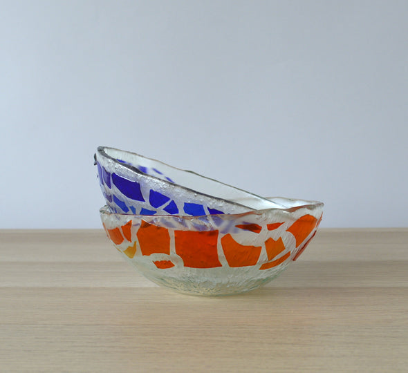 Set of 2 Fused Glass Red Blue Soup Bowls. Set of 2 Glass Cereal Bowls. Small Salad Bowls