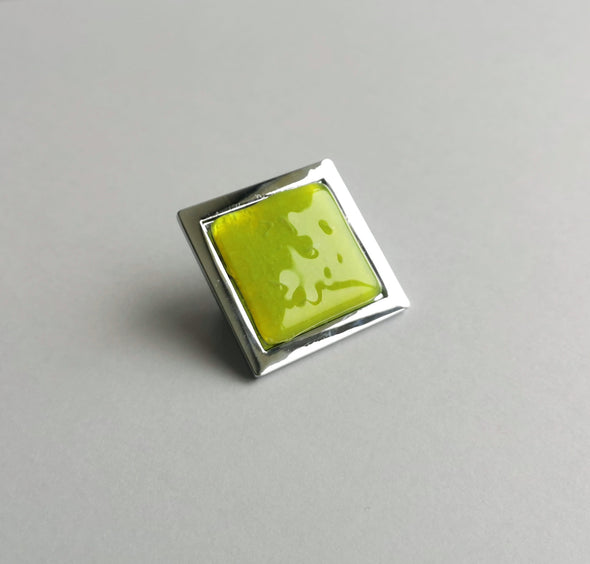 Pop-up Neon Yellow Bubble Effect Fused Glass Knob. Artistic Neon Yellow Glass Knob
