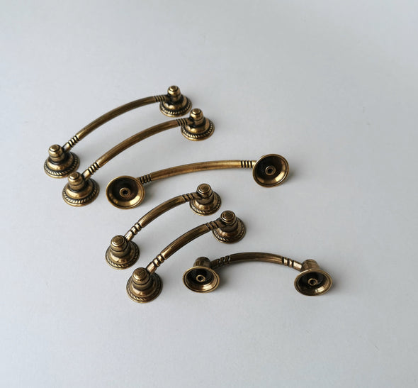 Set of 6 Brass Cabinet Handle. Boho Cabinet Pull. Brass Drawer Handle. Victorian Drawer Pull 6122