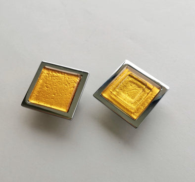Pop-up Classic Gold Fused Glass Knob. Gold Color Glass Knob. Gold Cabinet Handle 0003