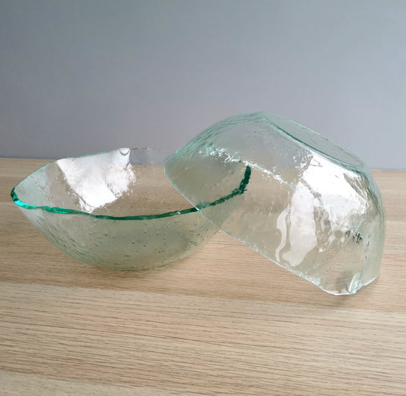 Set of 2 Large Fused Glass Salad Bowls. Set of 2 Glass Salad Bowls. Large Salad Bowls