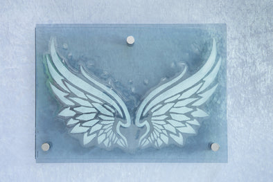 Whimsical Fused Glass Angel Wings. Original Angel Glass Wall Art. Stenciled Angel Wings