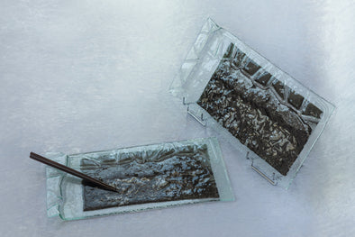 OOK Fused Glass Sushi Platter Set of 2. Statement Fused Glass Cheese Platters in Metallic Grey
