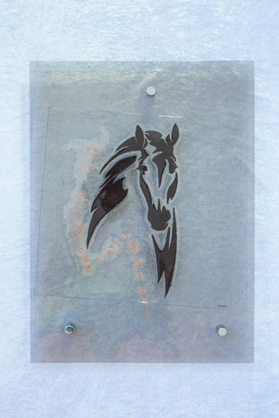 Fused Glass Horse Head Wall Art Panel. Glass Horse in Grey and Black