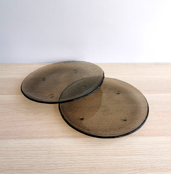 Set of 2 Fused Glass Platters. Set of 2 Extra Large Glass Plates. Minimalist Glass Platter