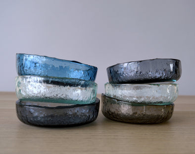 Set of Six Fused Glass Small Bowls. Small Dessert Bowls. Small Bowls. Minimalist Glass Tableware
