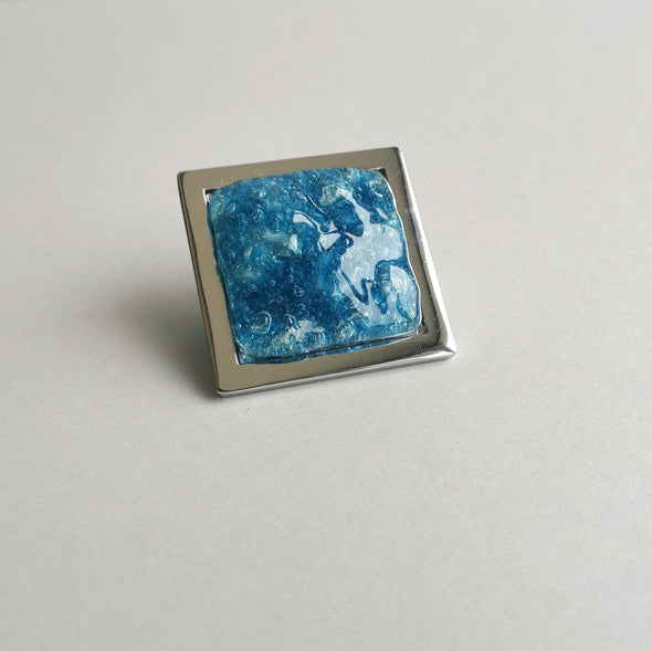 Pop-up Aqua Blue Bubble Effect Fused Glass Knob. Artistic Blue Furniture Glass Knob
