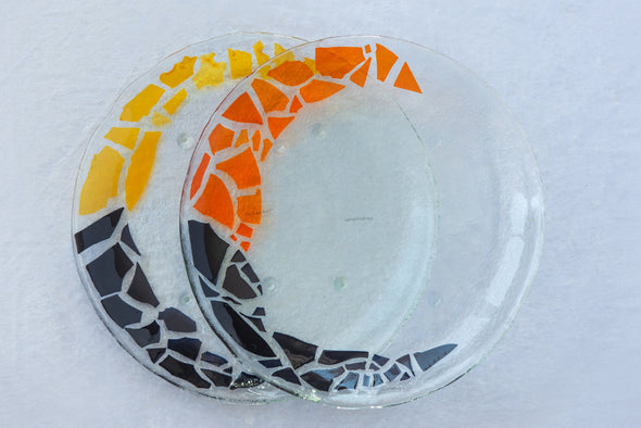 Set of 2 Unique Fused Glass Serving Platters in Black, Orange and Yellow. Round Shaped Platters