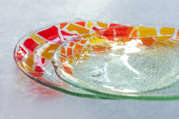 Set of 2 Unique Fused Glass Serving Platters in Red, Orange and Yellow. Round Shaped Platters