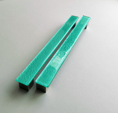 A Set of 2 Sea Foam Large Glass Pulls. Artistic Turquoise Furniture Glass Pull 0041