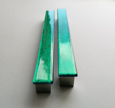 A Set of 2 Large Glass Pulls in Jade Green. Artistic Jewel Tone Furniture Glass Pull 0018