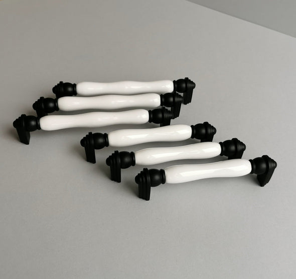 Set of 6 Modern Black and White Cabinet Pulls. Porcelain Cabinet Hardware. Contemporary Handle