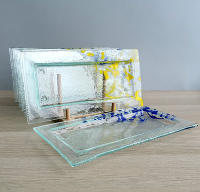 Set of Six Jackson Pollock Inspired Fused Glass Appetizer / Dessert Dish  Plates. Blue / Yellow Detail Fused Glass Plates