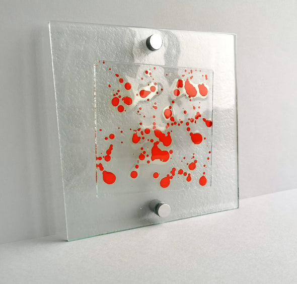 Fused Glass Jackson Pollock Inspired Wall Art Panel. Red Detailed Glass Wall Art