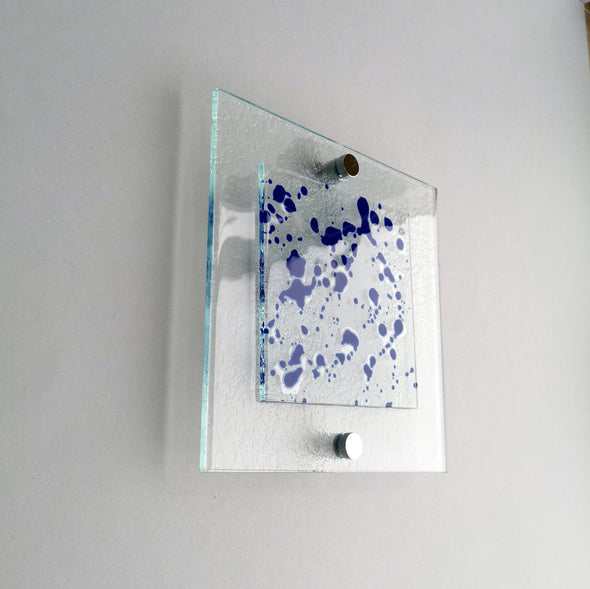 Fused Glass Jackson Pollock Inspired Wall Art Panel. Blue Detailed Glass Wall Art